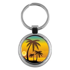 Sunset Summer Key Chains (round)  by Mariart