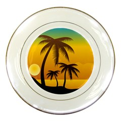 Sunset Summer Porcelain Plates by Mariart