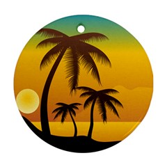 Sunset Summer Round Ornament (two Sides) by Mariart