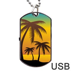 Sunset Summer Dog Tag Usb Flash (two Sides)