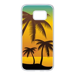 Sunset Summer Samsung Galaxy S7 Edge White Seamless Case by Mariart