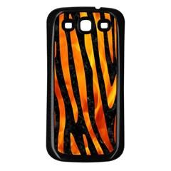 Skin4 Black Marble & Fire (r) Samsung Galaxy S3 Back Case (black) by trendistuff