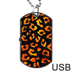 Skin5 Black Marble & Fire (r) Dog Tag Usb Flash (one Side) by trendistuff