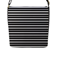 Tribal Stripes Black White Flap Messenger Bag (l)  by Mariart