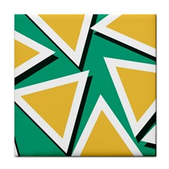 Triangles Texture Shape Art Green Yellow Tile Coasters by Mariart