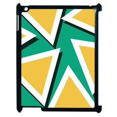 Triangles Texture Shape Art Green Yellow Apple Ipad 2 Case (black) by Mariart