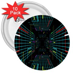 Seamless 3d Animation Digital Futuristic Tunnel Path Color Changing Geometric Electrical Line Zoomin 3  Buttons (10 Pack)  by Mariart