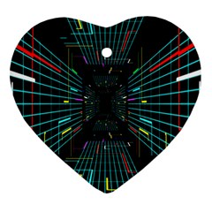Seamless 3d Animation Digital Futuristic Tunnel Path Color Changing Geometric Electrical Line Zoomin Heart Ornament (two Sides) by Mariart