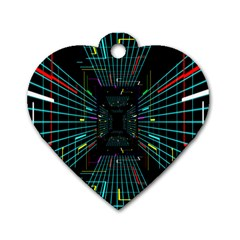 Seamless 3d Animation Digital Futuristic Tunnel Path Color Changing Geometric Electrical Line Zoomin Dog Tag Heart (two Sides) by Mariart