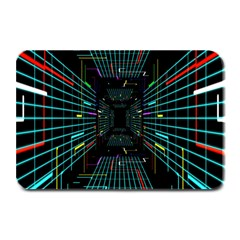 Seamless 3d Animation Digital Futuristic Tunnel Path Color Changing Geometric Electrical Line Zoomin Plate Mats by Mariart