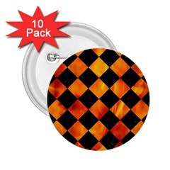 Square2 Black Marble & Fire 2 25  Buttons (10 Pack)  by trendistuff