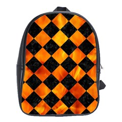 Square2 Black Marble & Fire School Bag (large) by trendistuff