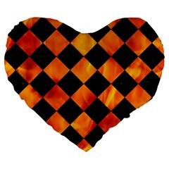 Square2 Black Marble & Fire Large 19  Premium Heart Shape Cushions by trendistuff