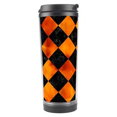 Square2 Black Marble & Fire Travel Tumbler by trendistuff