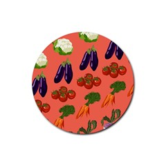 Vegetable Carrot Tomato Pumpkin Eggplant Rubber Round Coaster (4 Pack)  by Mariart