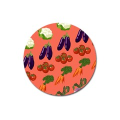 Vegetable Carrot Tomato Pumpkin Eggplant Magnet 3  (round) by Mariart
