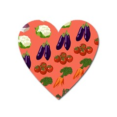 Vegetable Carrot Tomato Pumpkin Eggplant Heart Magnet by Mariart
