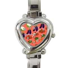 Vegetable Carrot Tomato Pumpkin Eggplant Heart Italian Charm Watch by Mariart