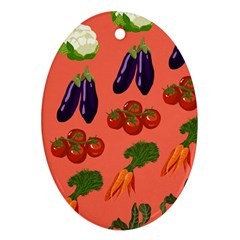 Vegetable Carrot Tomato Pumpkin Eggplant Oval Ornament (two Sides) by Mariart