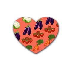 Vegetable Carrot Tomato Pumpkin Eggplant Heart Coaster (4 Pack)  by Mariart
