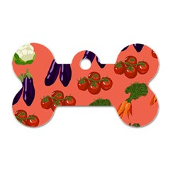 Vegetable Carrot Tomato Pumpkin Eggplant Dog Tag Bone (two Sides) by Mariart