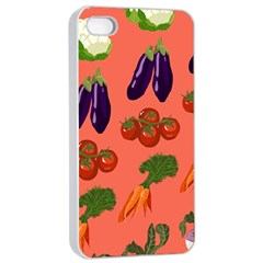 Vegetable Carrot Tomato Pumpkin Eggplant Apple Iphone 4/4s Seamless Case (white) by Mariart
