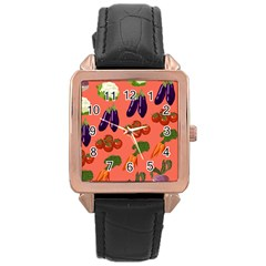 Vegetable Carrot Tomato Pumpkin Eggplant Rose Gold Leather Watch  by Mariart