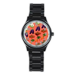 Vegetable Carrot Tomato Pumpkin Eggplant Stainless Steel Round Watch by Mariart