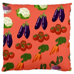 Vegetable Carrot Tomato Pumpkin Eggplant Large Flano Cushion Case (one Side) by Mariart