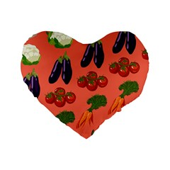 Vegetable Carrot Tomato Pumpkin Eggplant Standard 16  Premium Flano Heart Shape Cushions by Mariart