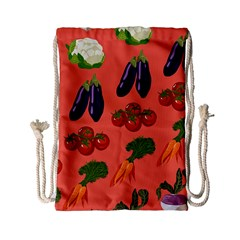 Vegetable Carrot Tomato Pumpkin Eggplant Drawstring Bag (small) by Mariart