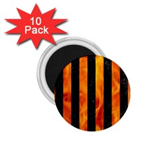 Stripes1 Black Marble & Fire 1 75  Magnets (10 Pack)  by trendistuff