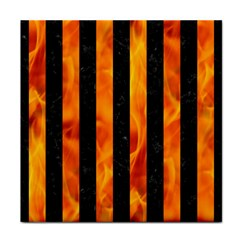 Stripes1 Black Marble & Fire Face Towel by trendistuff