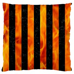 Stripes1 Black Marble & Fire Large Cushion Case (two Sides) by trendistuff