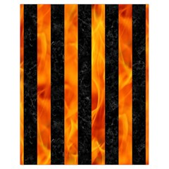 Stripes1 Black Marble & Fire Drawstring Bag (small) by trendistuff
