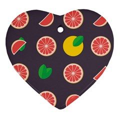 Wild Textures Grapefruits Pattern Lime Orange Ornament (heart) by Mariart