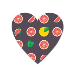 Wild Textures Grapefruits Pattern Lime Orange Heart Magnet by Mariart