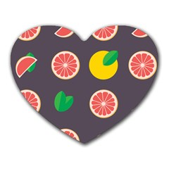 Wild Textures Grapefruits Pattern Lime Orange Heart Mousepads by Mariart