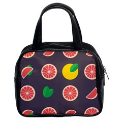 Wild Textures Grapefruits Pattern Lime Orange Classic Handbags (2 Sides) by Mariart