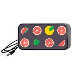 Wild Textures Grapefruits Pattern Lime Orange Portable Speaker (black) by Mariart
