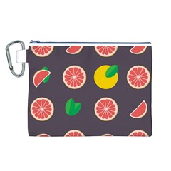 Wild Textures Grapefruits Pattern Lime Orange Canvas Cosmetic Bag (l) by Mariart