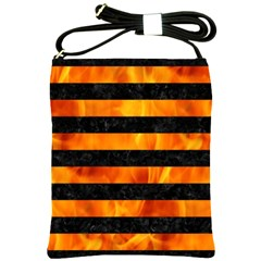 Stripes2 Black Marble & Fire Shoulder Sling Bags by trendistuff