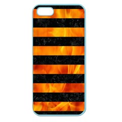 Stripes2 Black Marble & Fire Apple Seamless Iphone 5 Case (color) by trendistuff