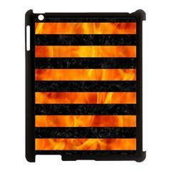 Stripes2 Black Marble & Fire Apple Ipad 3/4 Case (black) by trendistuff