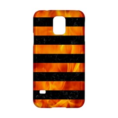 Stripes2 Black Marble & Fire Samsung Galaxy S5 Hardshell Case  by trendistuff