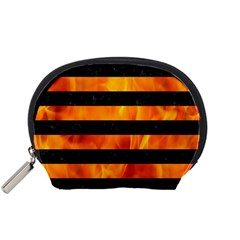 Stripes2 Black Marble & Fire Accessory Pouches (small)  by trendistuff