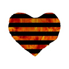 Stripes2 Black Marble & Fire Standard 16  Premium Flano Heart Shape Cushions by trendistuff