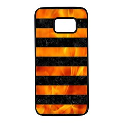Stripes2 Black Marble & Fire Samsung Galaxy S7 Black Seamless Case by trendistuff