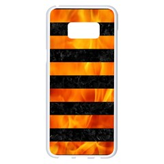 Stripes2 Black Marble & Fire Samsung Galaxy S8 Plus White Seamless Case by trendistuff