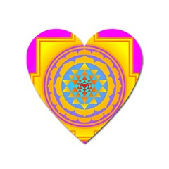 Triangle Orange Pink Heart Magnet by Mariart